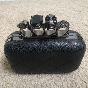 Handbags - NEW! Black Skull Knuckle Clutch/Shoulder Bag